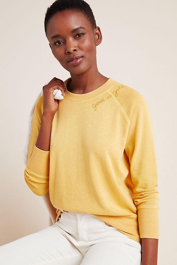 Slide View: 1: Sundry Good As Gold Embroidered Sweatshirt