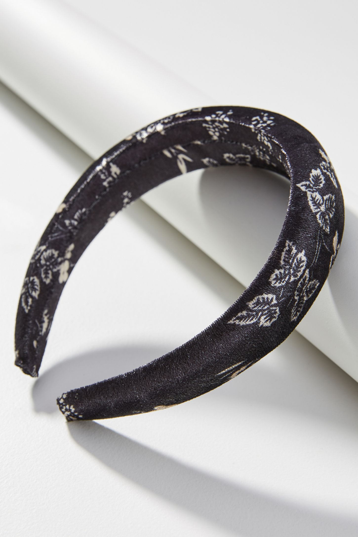 Grey Crushed Velvet Wire Headband
