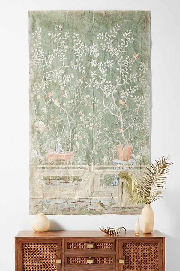 Slide View: 1: Birds and Potted Tree Tapestry