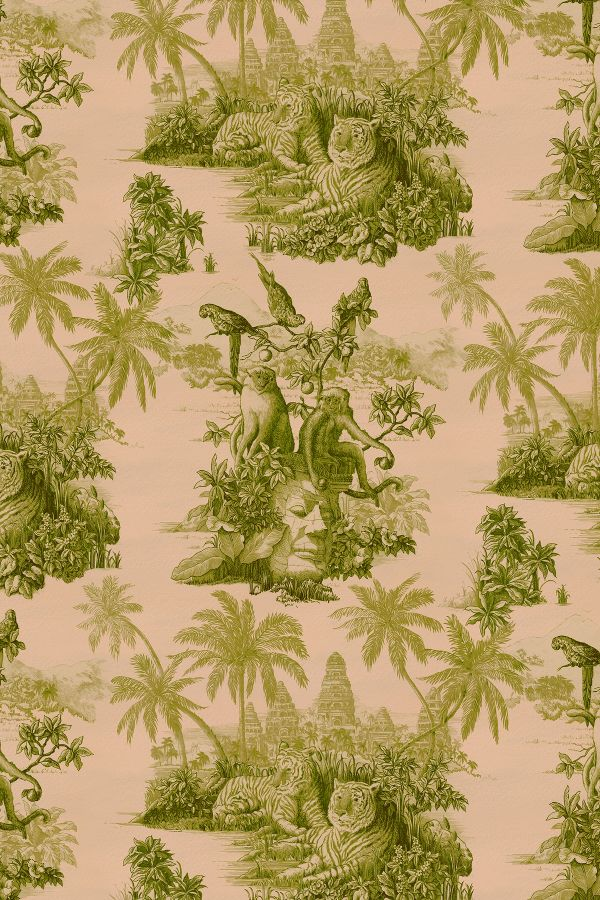 Pink toile - House of Hackney Sumatra Wallpaper. 10 Romantic Tranquil Pink Paint Colors & Pretty Finds!