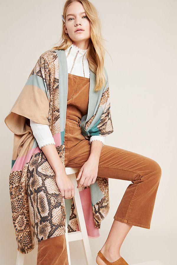 Slide View: 1: Patchwork Snake-Printed Kimono