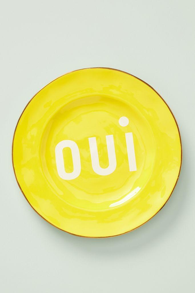 "Clare V Maisonette ""oui"" yellow plate - Anthropologie"