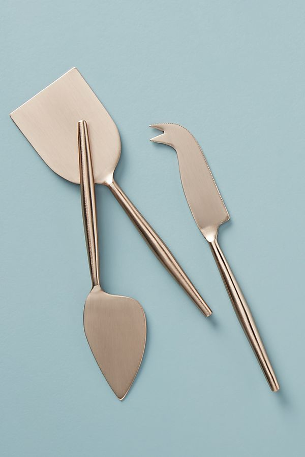 Slide View: 1: Rose Cheese Knives, Set of 3