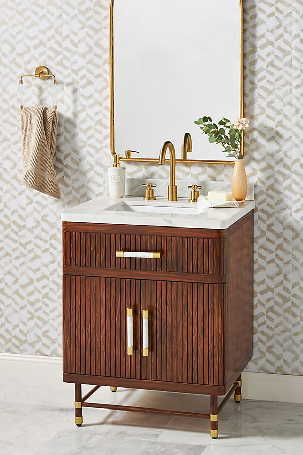 Slide View: 1: Deluxe Tamboured Powder Bathroom Vanity