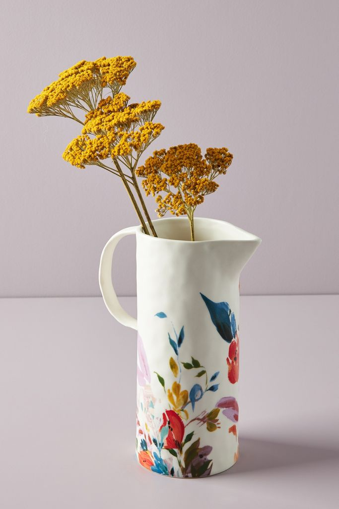 Brynne pitcher with handpainted florals