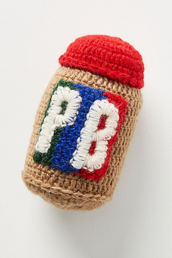 Slide View: 1: Hand-Knit Peanut Butter Dog Toy