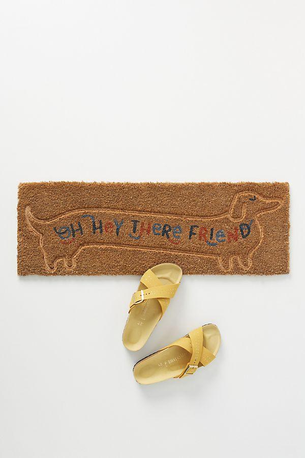Slide View: 1: Hey There Friend Daschund Doormat