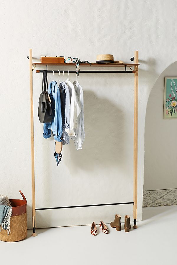 Slide View: 1: Theo Wall-Mounted Clothing Rack