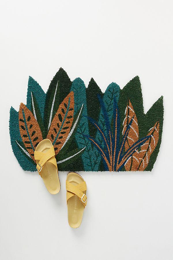 Slide View: 1: Tropical Leaves Doormat