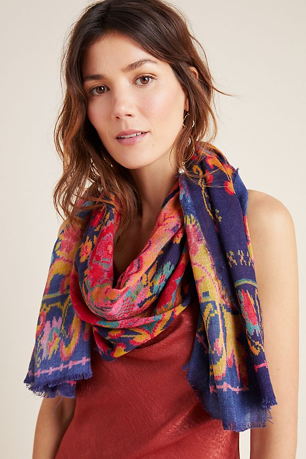 Slide View: 1: Tapestry Fringed Scarf