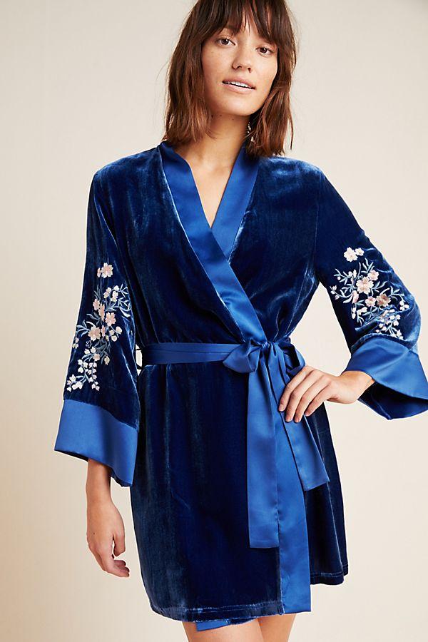 Slide View: 1: Sakura Embroidered Velvet Robe