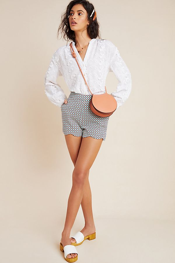 Slide View: 1: Georgie Scalloped Shorts