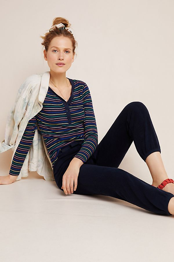 Slide View: 1: Sundry Striped Henley Top