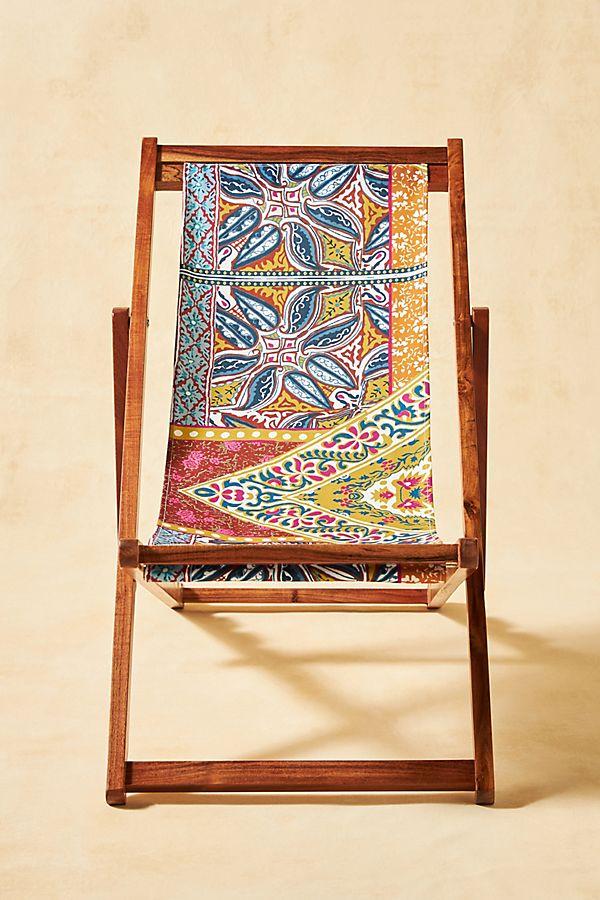 Slide View: 1: Blockprint Sling Beach Chair
