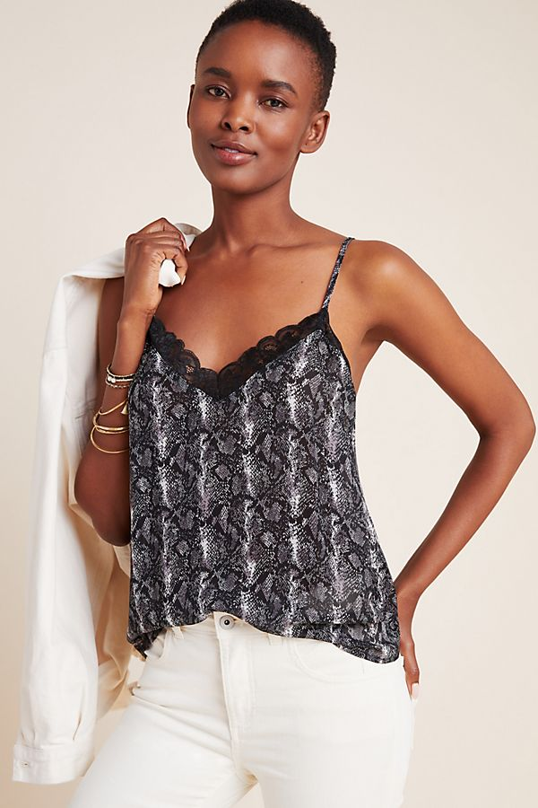Slide View: 1: Jan Snake-Printed Lace Cami