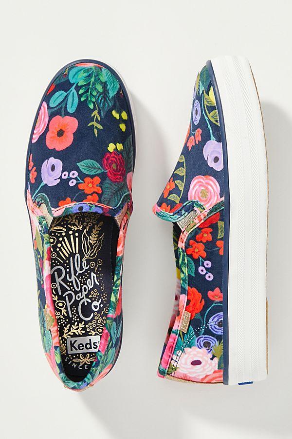 Slide View: 1: Keds x Rifle Paper Co. Velvet Slip-On Sneakers