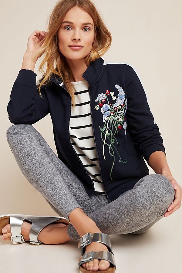 Slide View: 1: Lizzie Embroidered Bomber Jacket