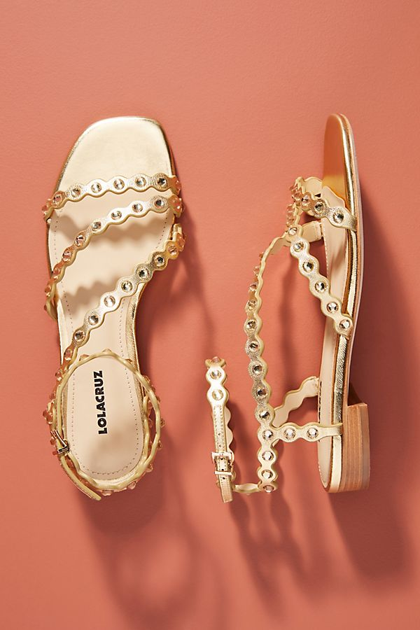 Slide View: 1: Lola Cruz Gem Strappy Sandals
