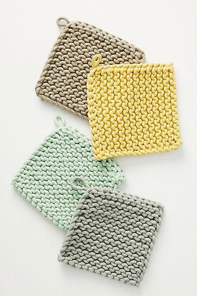 Crocheted Pot Holders, Set of 4