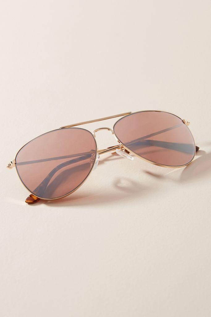 Gold rimmed Violet aviator sunglasses - Anthropologie