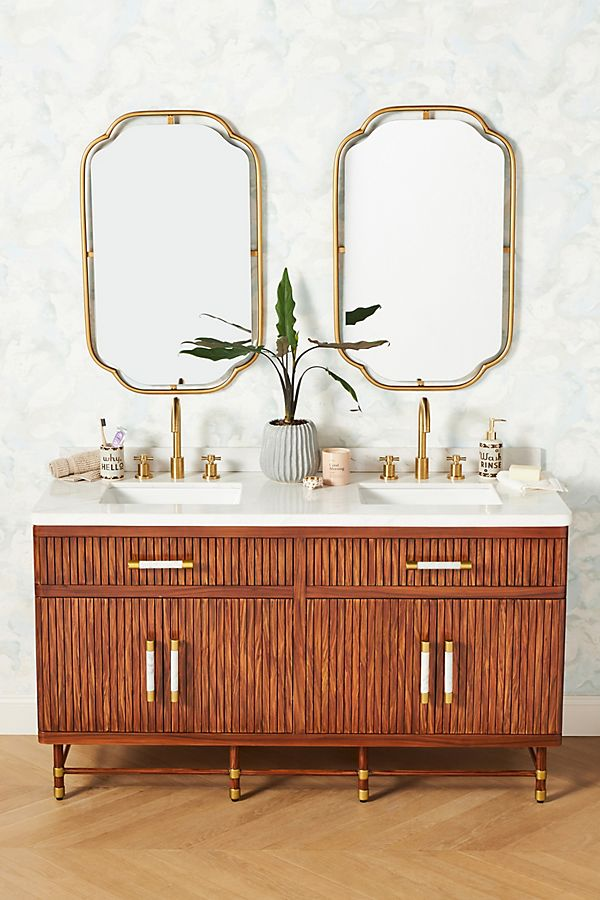 Slide View: 1: Deluxe Tamboured Double Bathroom Vanity