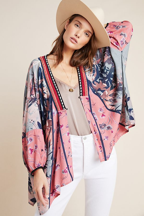 Slide View: 1: Jessa Embroidered Kimono