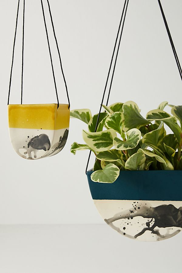 Slide View: 1: Elizabeth Benotti Half Moon Hanging Planter