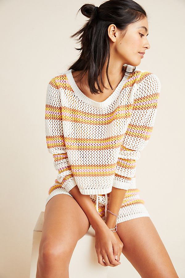 Slide View: 1: L Space Horizon Crocheted Cover-Up Top