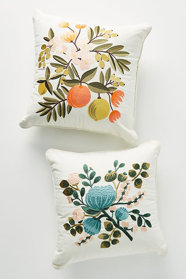 Slide View: 4: Rifle Paper Co. x Loloi Blue Botanical Embroidered Pillow