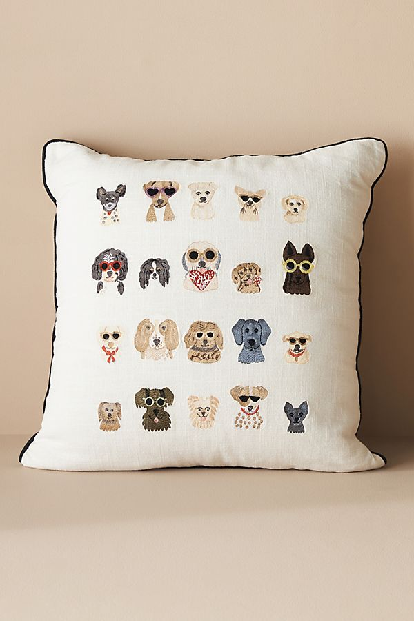 Slide View: 1: Rifle Paper Co. x Loloi Dog Days Embroidered Pillow