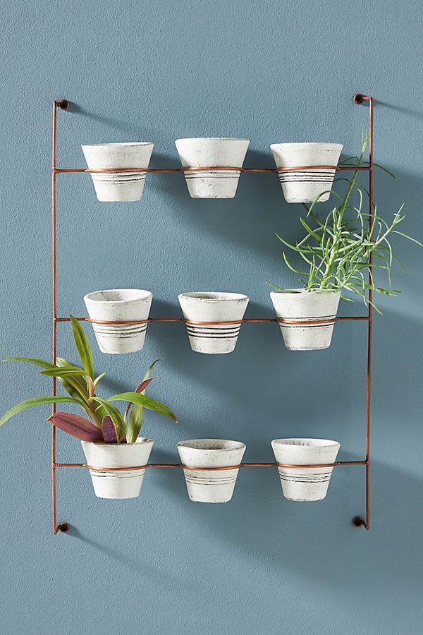 Slide View: 1: Hanging Clay Pots, Set of 9