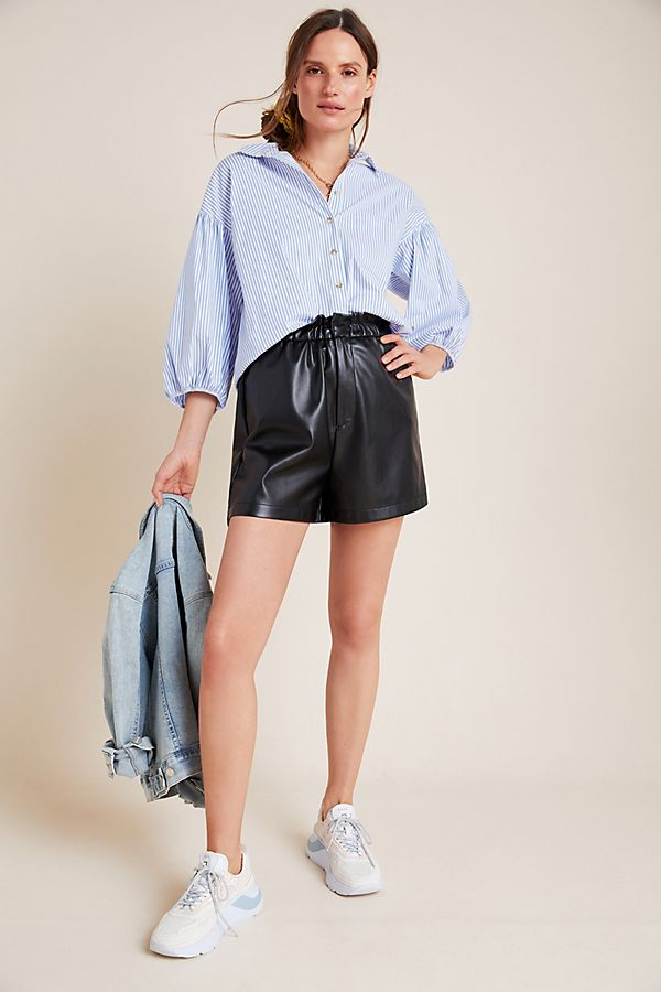 Slide View: 1: Faux Leather Paperbag Shorts