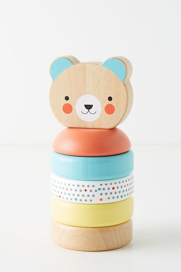 Slide View: 1: Happy Bear Wooden Stacker Toy
