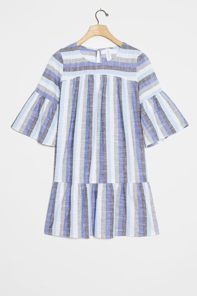 Bethany Flounced Tunic Dress - a gorgeous striped dress with blue and flutter sleeves - Anthropologie. #dresses #tunics #bluestripes #summerdress #fluttersleeves
