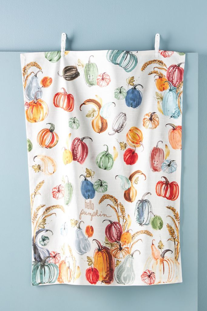 Hello Pumpkin dish towel from Anthropologie.