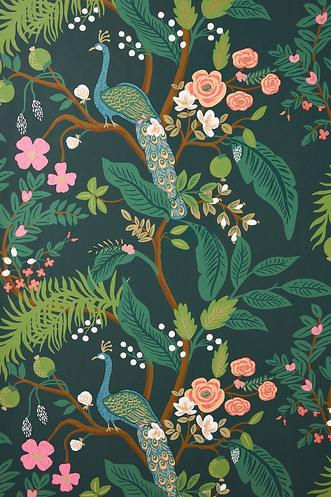 Rifle Paper Co Peacock Wallpaper Anthropologie