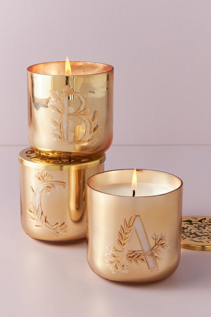 Holly monogram glass candle from Anthropologie