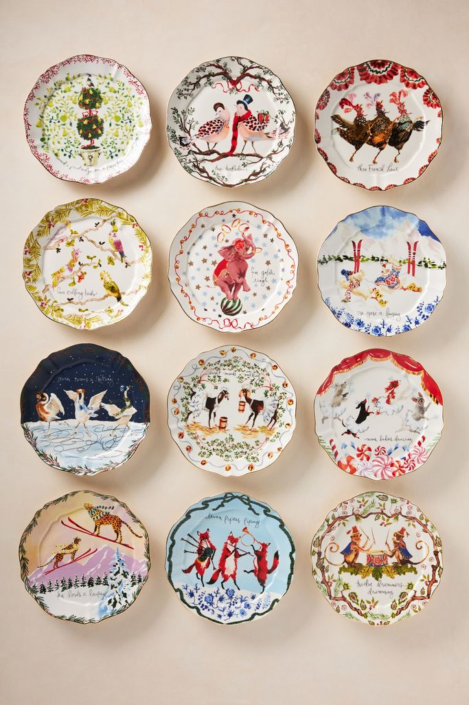 Inslee Fariss Twelve Days of Christmas plates - Christmas decor at Anthropologie.
