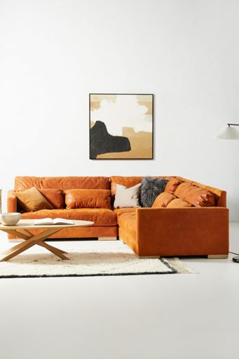 Relaxed Sunday Modular Leather Armless Loveseat