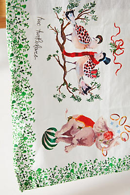 Anthropologie Inslee Fariss Twelve Days Of Christmas Menagerie Dish Towel