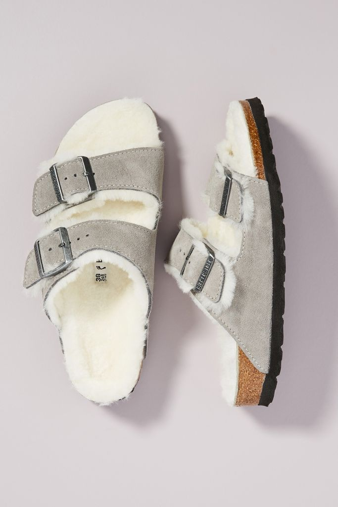Birkenstock Arizona shearling lined sandals - Anthropologie.