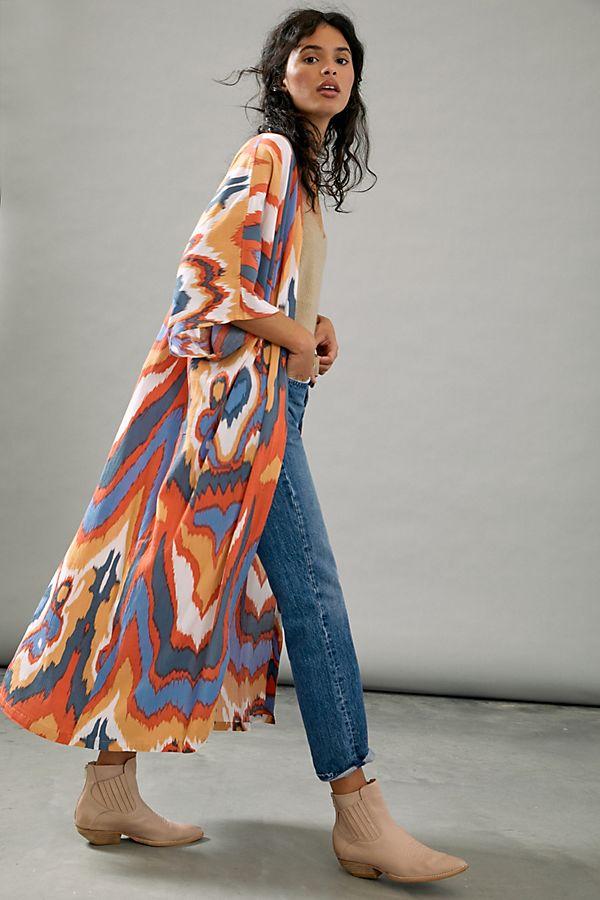 Slide View: 1: Bel Kazan Kyra Colour-Blocked Kimono