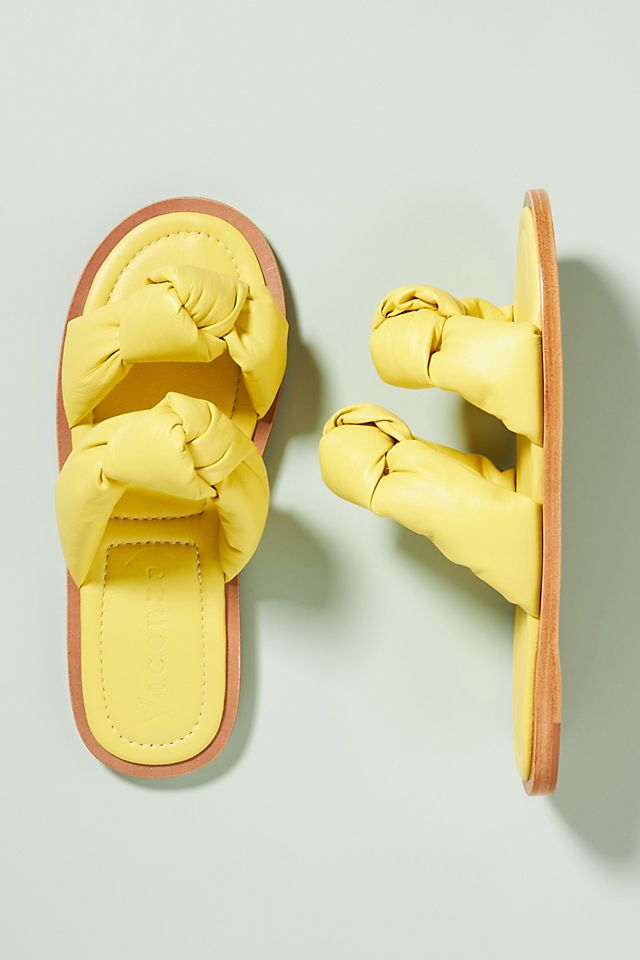 Puffy Double Knot Slide Sandals in yellow from Anthropologie
