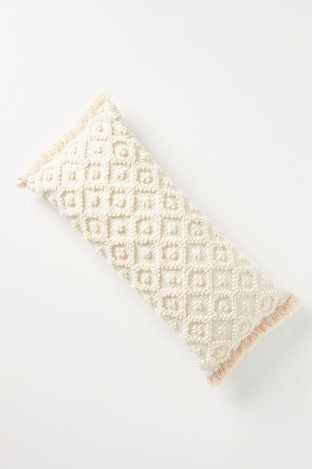 Tibo Diamond Dot Pillow - Anthropologie, ivory with fringe