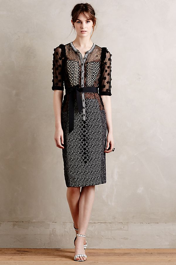 b13299009463 Byron Lars Charlotte Lace Pencil Dress, Black | Anthropologie UK