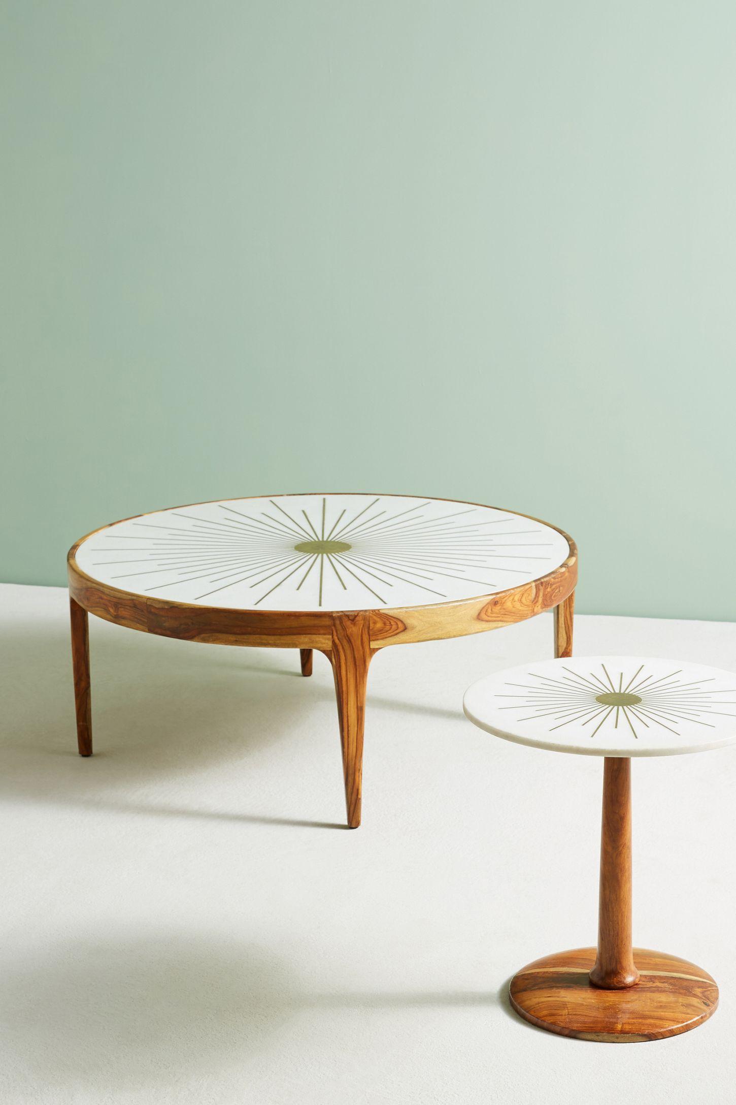Round Wood Coffee Table.Brass Starburst Round Coffee Table