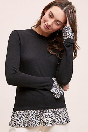 40ed7a44e5 Kachel Leopard-Print Trimmed Pullover Top