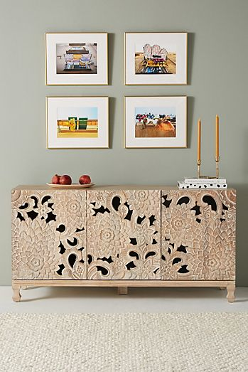Handcarved Lotus Sideboard
