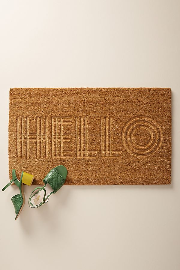 Slide View: 1: Embossed Greeting Doormat