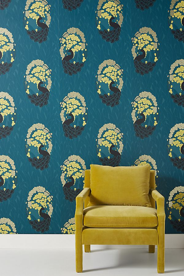 Slide View: 1: Deco Peacock Wallpaper
